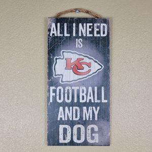 NFL Kansas City Chiefs Decor Faux Wood Barn Decor Sign Sx 12x6 NWT Smoke free